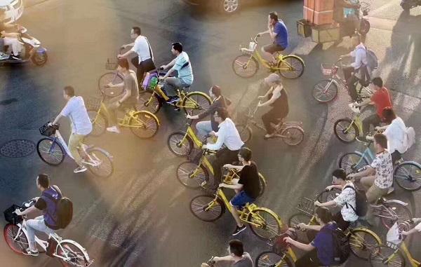 城市街头的景象:10辆共享单车7辆是ofo